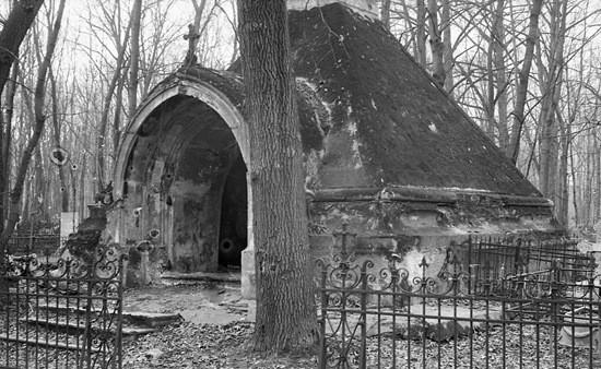 Старый склеп на кладбище фото