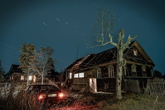 страшная деревня ночью