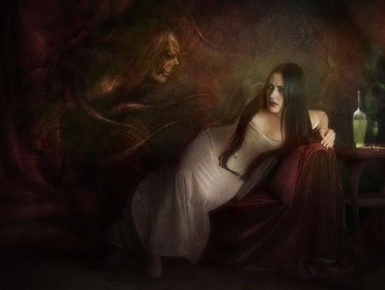 демон во сне и девушка