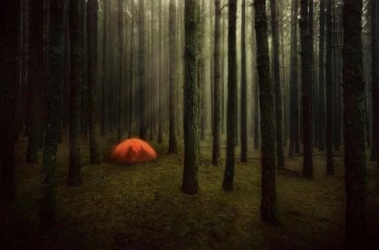 палатка в лесу с мертвецом
