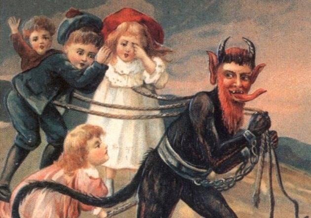 Демонический Крампус, уносящий непослушных детей