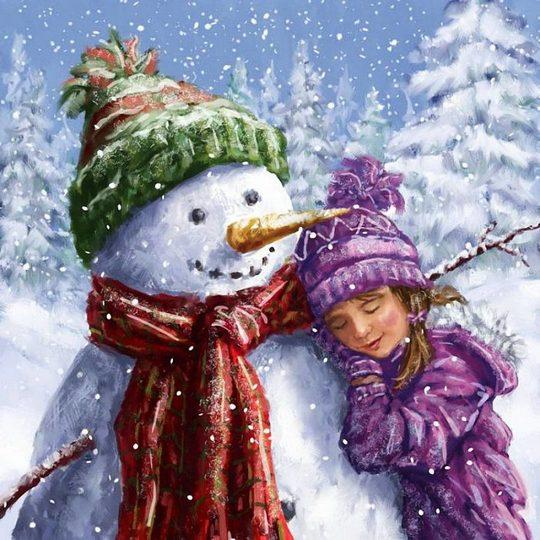 снеговик и девочка