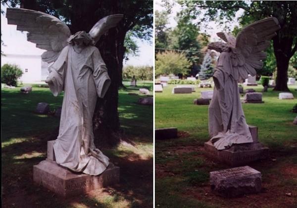 Статую ангела обезглавили и лишили рук